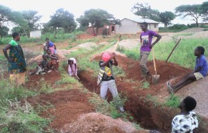 men and women building new church in Tanzania